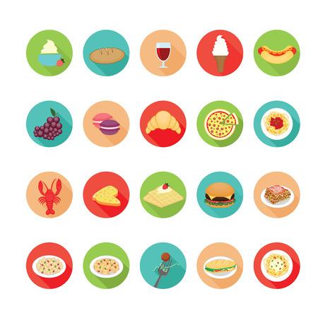Italian food icons set.