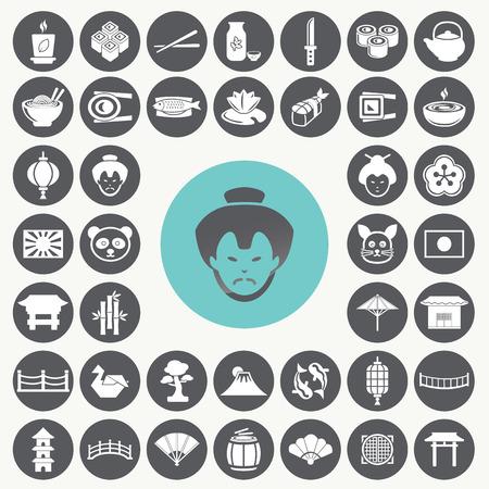 chinese tea pot: Japanese icons set.