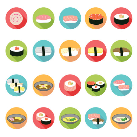 Japanese food icons set Vector