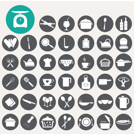 Food and kitchen icons set.