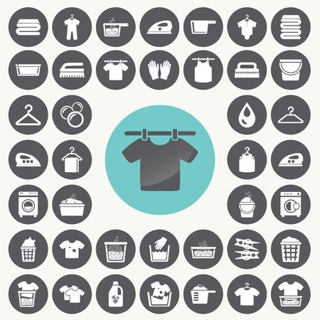 solvant: Blanchisserie et de lavage icons set. Illustration