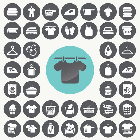 Laundry And Washing icons set.  Vectores