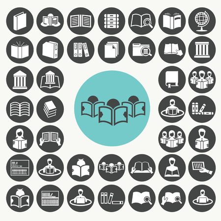 Book and Library icons set.  Vector