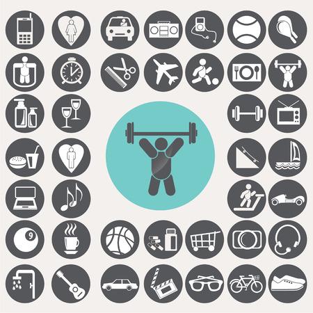 inline: Lifestyle icons set.