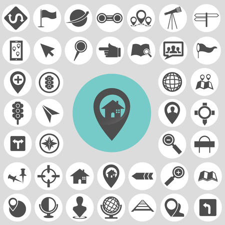 Map icon sets. Иллюстрация