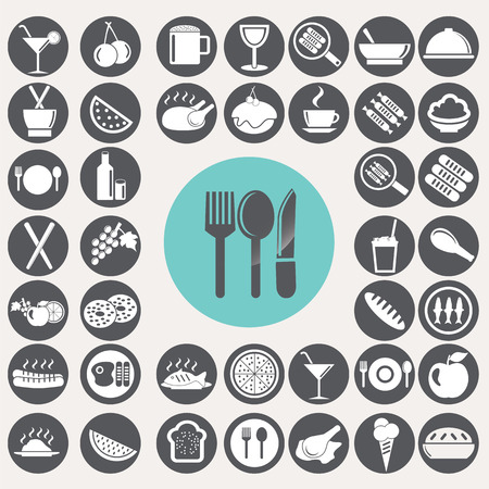 lo mein: Meal and food icons set.