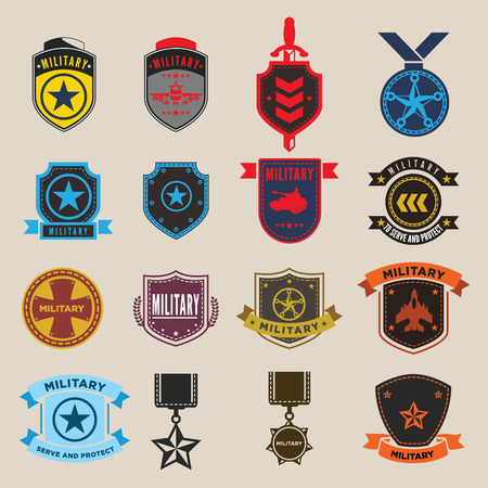 us air force: Set of military and armed forces badges and labels