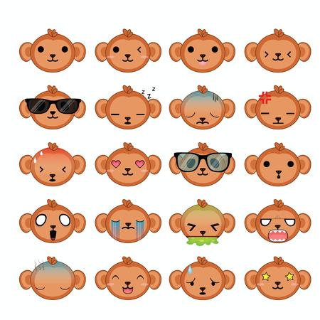 Monkey icons set.  Vector