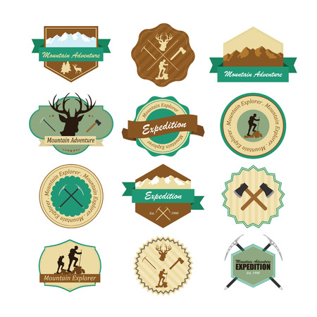 scouts: Set of vintage woods camp badges and travel emblems