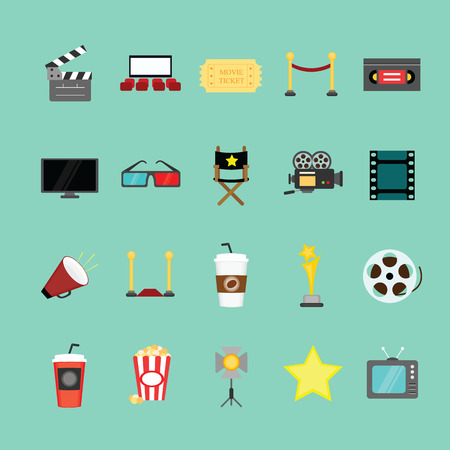 Movie and cinema icons set.