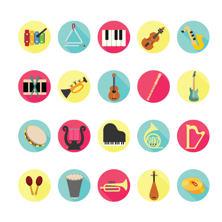 stringed: Music instruments icons set. Illustration