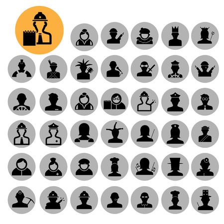 People icons. 40 characters set. Occupations. Professions. Human resources. Иллюстрация