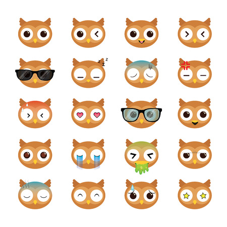 Owl smiling face icons set.