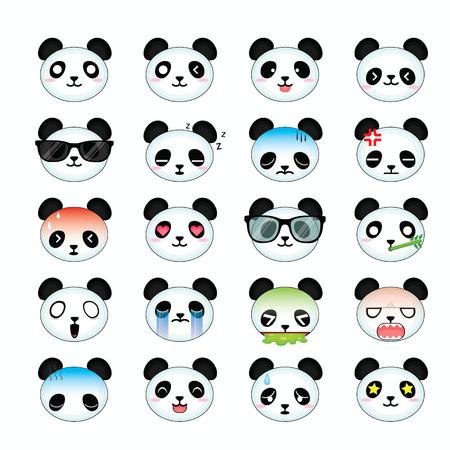 Panda smiley face icons set.