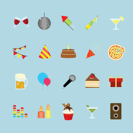 Party and celebration icons set. Иллюстрация