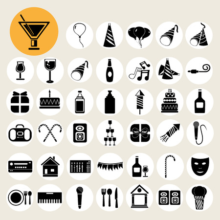 Party and Celebration icons set. Vector