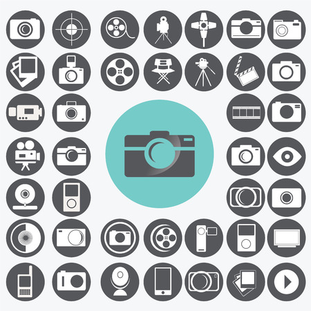 neutral density filter: Photography icons set.