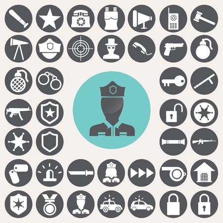 Police icons set. Иллюстрация