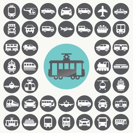 Iconos de transporte públicos establecido. Ilustración de vector