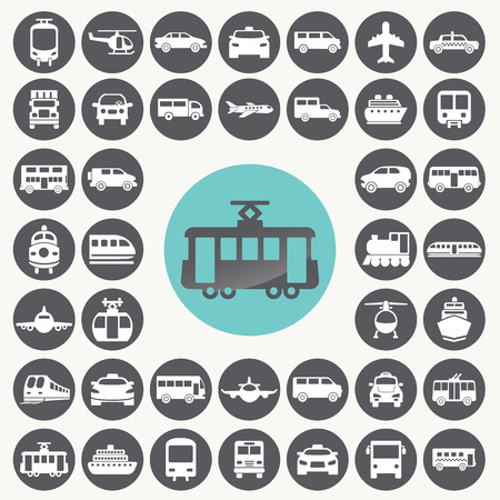 Public transportation icons set.