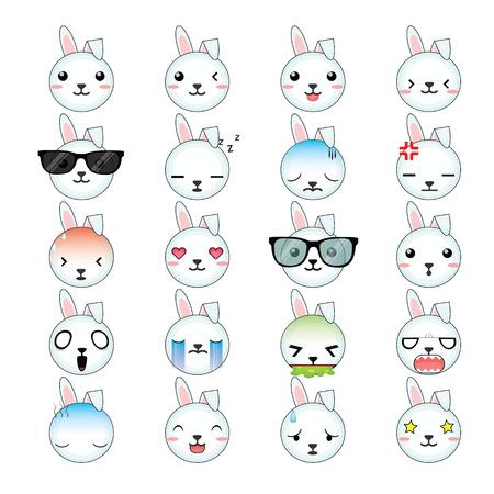 Rabbit smiley faces icon set. Illustration