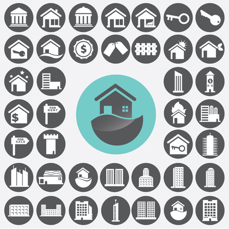 Real estate icons set. Vector