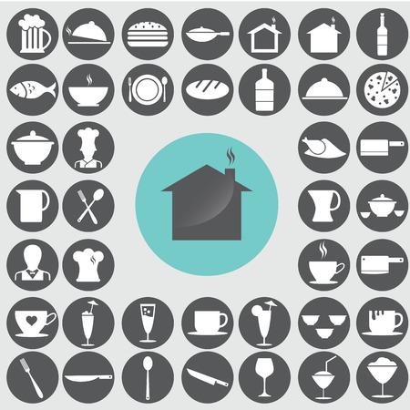 Restaurant icons set.  Иллюстрация
