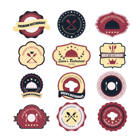 Vintage retro grunge coffee and restaurant labels, badges and icons Иллюстрация