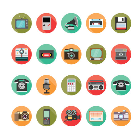 Retro style media icons set. Vector