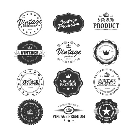 hand made: Set of retro vintage badges and labels with texture Illustration