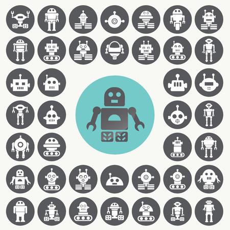Robot icons set. Illustration