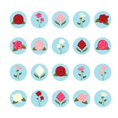 Rose flower icons set.