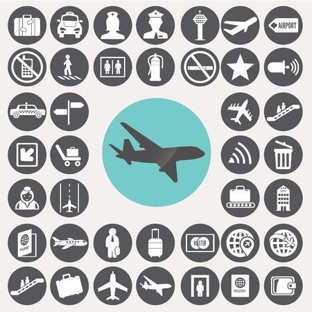 Airport icons set.  Иллюстрация