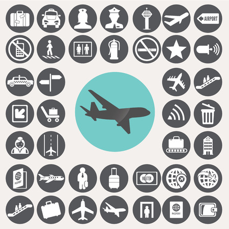 airport lounge: Airport icons set.  Illustration