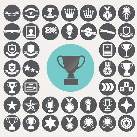 Award icons set. Иллюстрация