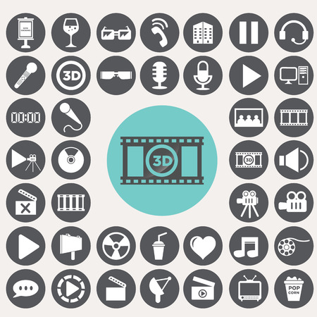 Cinema icons set. Иллюстрация