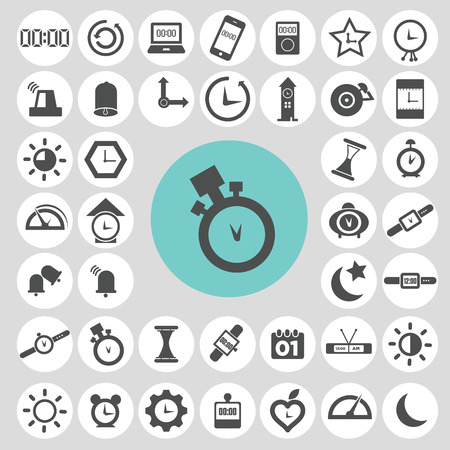 Clock and time icon set.