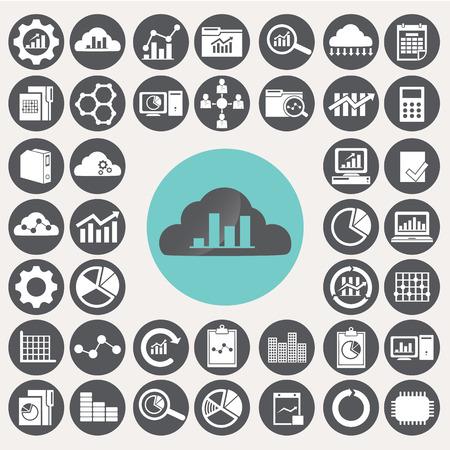 Data Analytic icons set. Illustration