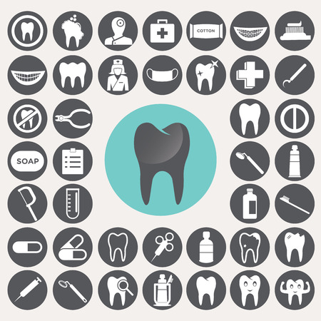 Dental icons set.  Vector