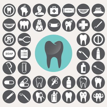 sillon dental: Iconos dentales fijaron.