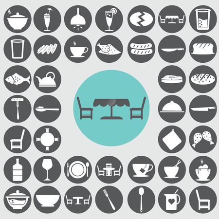 Dining room icons set.  Vector