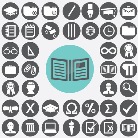 Education icons set. Vector