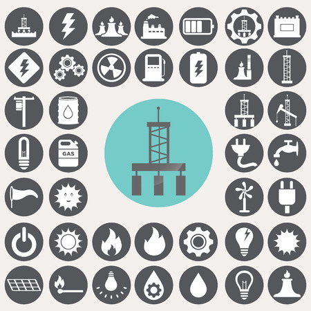 hydroelectric: Energy and industry icons set.