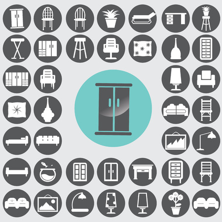 Furniture icons set. Vector