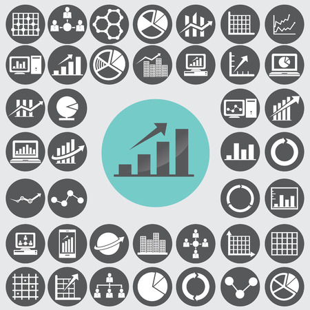 Business infographic icons set. Vector
