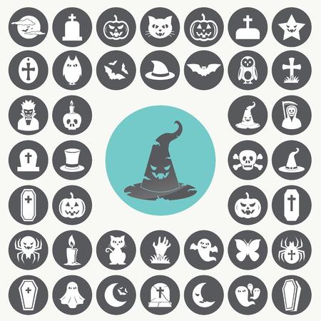 Halloween icons set. Иллюстрация