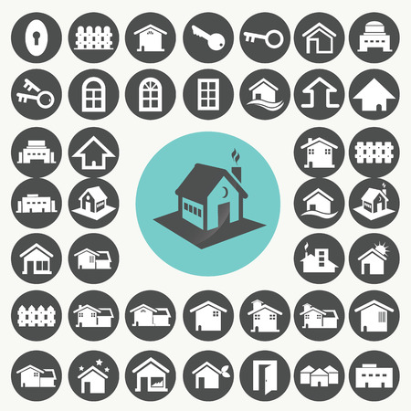 Home and house icons set.