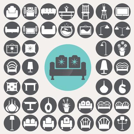 Living room icons set. Ilustrace