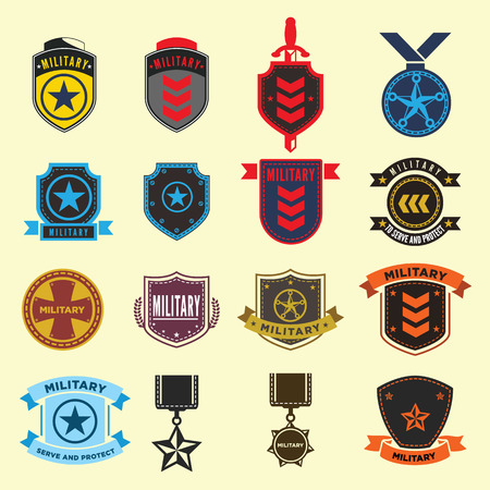 rank: Set of military and armed forces badges.