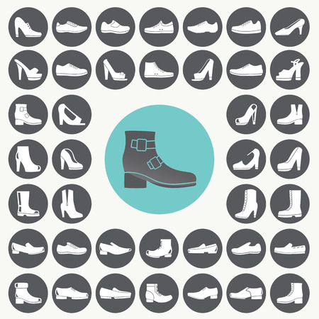 Shoes icons set.